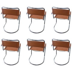 Set of Four Italian Tan Leather Dining or Conference Chairs