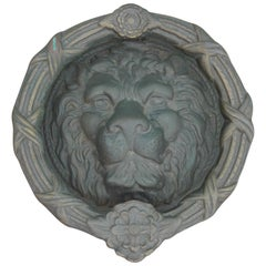Monumental French Louis XV Style Bronze Lion Head Door Knocker
