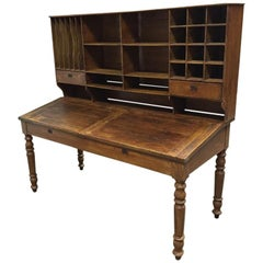 Italian Double Wooden Desk with Pigeonholes from 19th Century