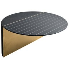 Spacco Coffee Table in Lavagna Stone/Ardesia and Natural Pale-Gold Painted Steel