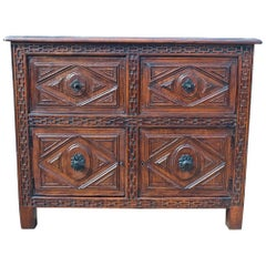 19th Century Spanish Two-Door, Two-Drawer Walnut Credenza