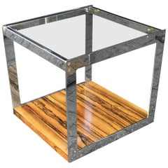 Merrow Associates Rosewood Glass and Chrome Side Table