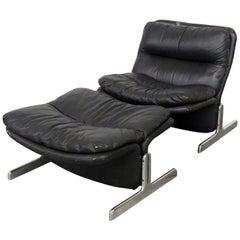 Ammanti & Vitelli Italian Leather Chair and Ottoman