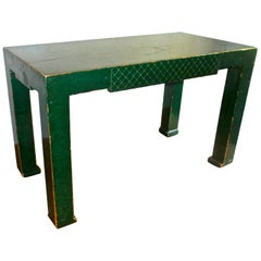 Early Tommi Parzinger Style Deep Green Lacquer Chinoiserie Coffee Table