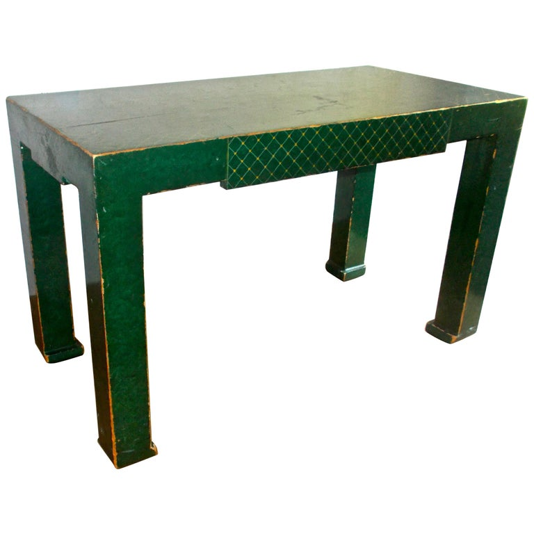 Early Tommi Parzinger Deep Green Lacquer Chinoiserie Parsons Coffee Table