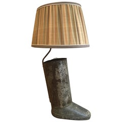 French Table Lamp Made with an Old Iron Boot Ombrella Stand from 20th Century