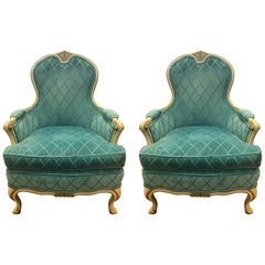 French Louis XV Cream Painted Carved Turquoise Bergere Armchairs