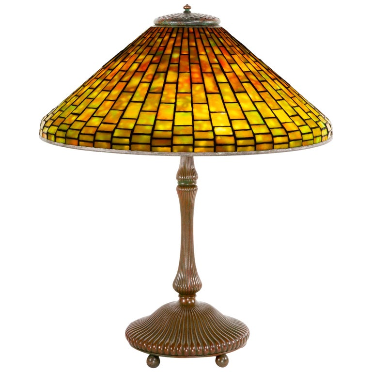 Dichroic Geometric Cone Table Lamp by Tiffany Studios