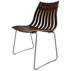 Midcentury Slated Rosewood Hans Brattrud for Hove Mobler Norwegian Chair