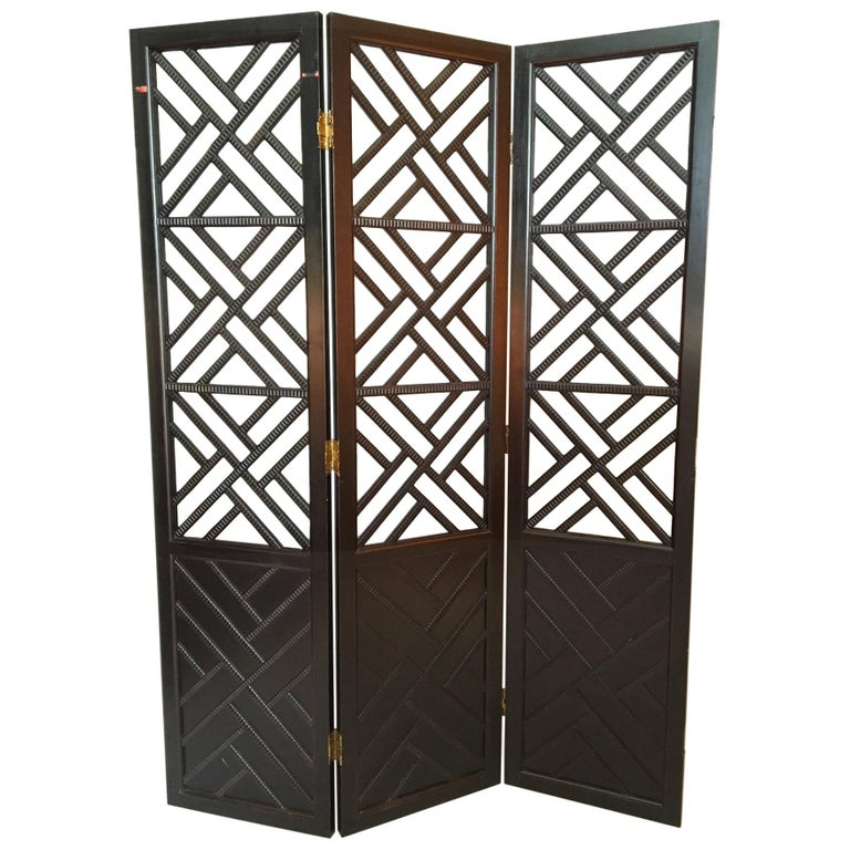 Three Panel Chinese Chippendale Room Divider Screen For