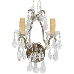 Single French Brass and Crystal Sconce
