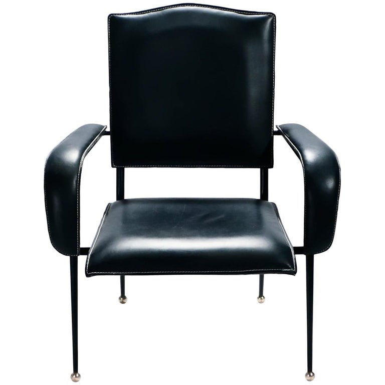 Rare Jacques Adnet Leather Armchair, 1950s