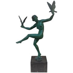 Art Deco Nude Dancer with Birds by Briand