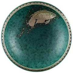 Wilhelm Kåge/Kaage, Gustavsberg, Argenta Art Deco Bowl Decorated with Fish