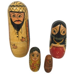 Vintage Arab Man and Women, Child and Pet Nesting Dolls