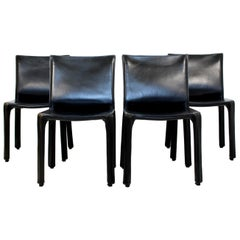 Mid-Century Modern Set of Four Cab Cassina Chairs Black Leather Mario Bellini