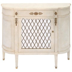 Narrow Hall Chest with Grille-Front Mirrored Door