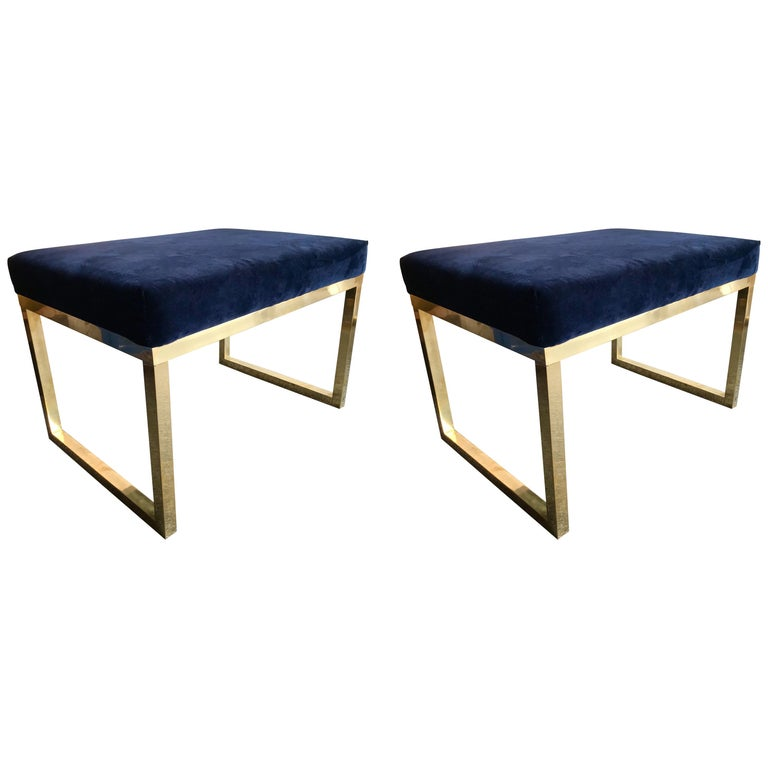 Contemporary Pair of Brass Poufs Stools, Italy