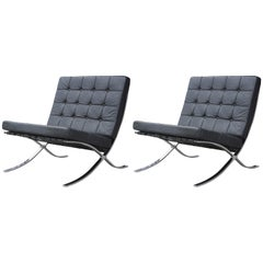 Pair of Modern Italian Black Leather and Chrome Barcelona Style Lounge Chairs