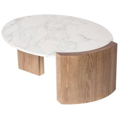 Jia Table Solid Wood in Oak, Ash, Maple, Walnut with Carrara Marble Top