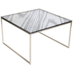 Grain Glass Coffee Table, Blue / Nickel