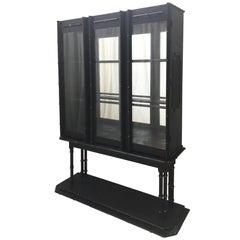 Midcentury Chinoiserie Bamboo Platform Display Cabinet