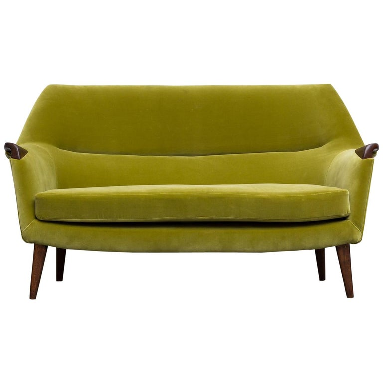 Theo Ruth Inspired Kiwi Velvet Midcentury Loveseat For Sale