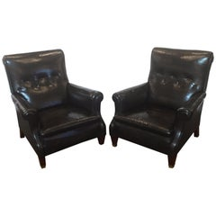 English Button Leather Club Chairs from the Edwardian Era, Individually Priced