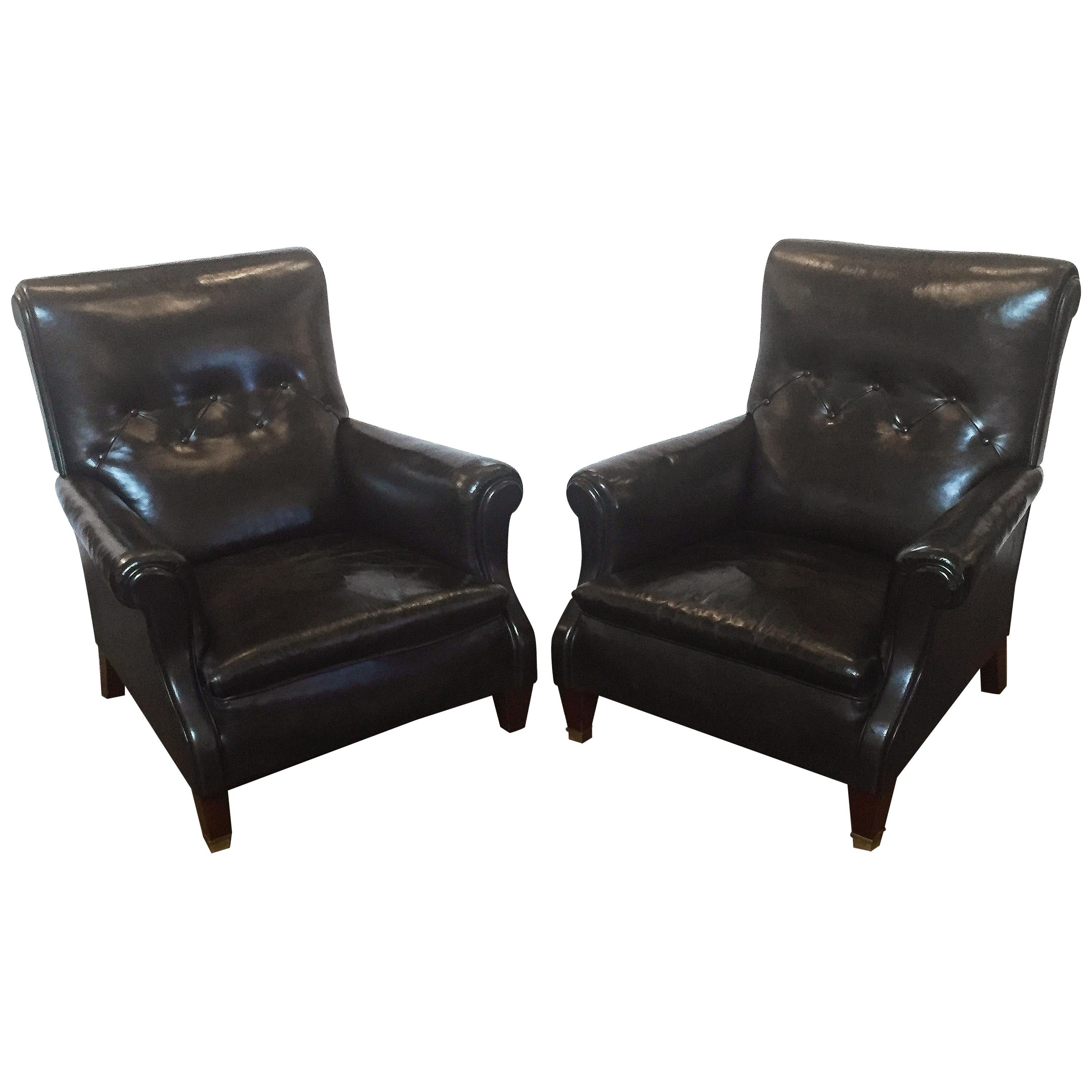 English Button Leather Club Chairs From The Edwardian Era, Individually  Priced For Sale