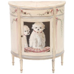Demilune Cabinet Hand-Painted with Dogs