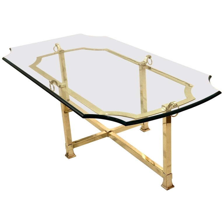 Hollywood Regency Solid Polished Brass and Glass Italian Coffee Table
