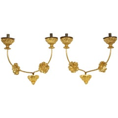 Pair of Neoclassic Italian Carved and Gilded Iron Wall Sconces