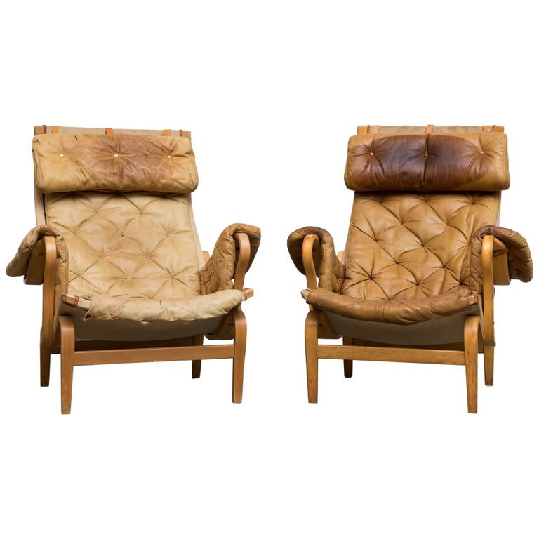 Pair of Well Used 'Pernilla' Chairs by Bruno Mathsson