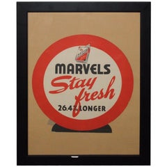 "1940s Marvels Cigarettes ""Stay Fresh"" Cardboard Advertising Framed"