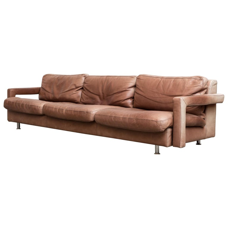 Massive Leather Sofa by Molinari For Sale