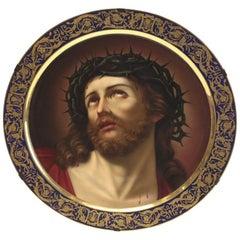 Royal Vienna Large Porcelain Portrait Charger of Jesus by H. Stadler, 1890