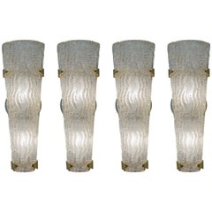 Set of Four Kalmar Textured Glass Wall Sconces