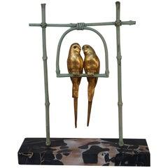Art Deco Bronze Parakeets by A Van Kote