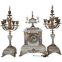 19th Century French Champlevé Enamel and Marble Clock Set