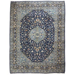 Persian Hand-Knotted Blue Cream Medallion Floral Kashan Rug