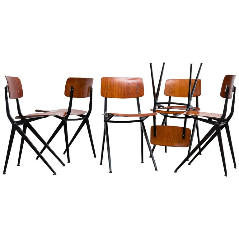 Set of 6 Jean Prouve and Friso Kramer Style School Chairs For Sale