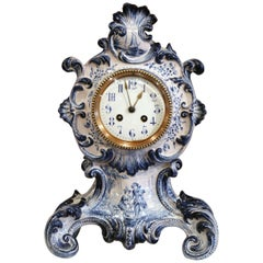 Late 19th Century French Hand-Painted Blue and White Faience Mantel Clock