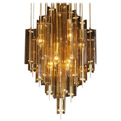 1960s, Brass, Metal and Fumé Glass Chandelier in the Manner of Verner Panton
