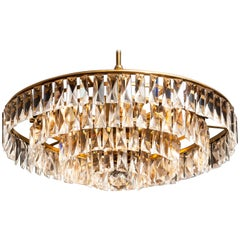 Italian Brass Pendant / Chandelier with Clear Murano Crystal