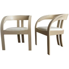 Elisa Chairs by Giovanni Bassi for Poltronova, Pair of Cream and White Chairs