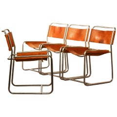 1970s Leather Set Dining Chairs by Paul Ibens & Clair Bataille for 't Spectrum