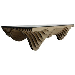 One of a Kind Modern Parametric Stacked Plywood Dune Wave Coffee Table