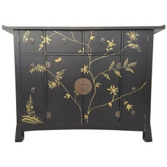 Midcentury Asian Hand-Painted Server Credenza