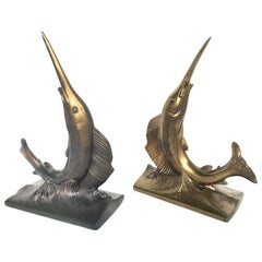 20th Century Pair of Brass Swordfish Bookends