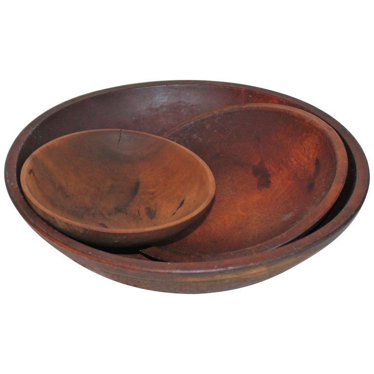 Collection of 19th Century Wooden Bowls For Sale
